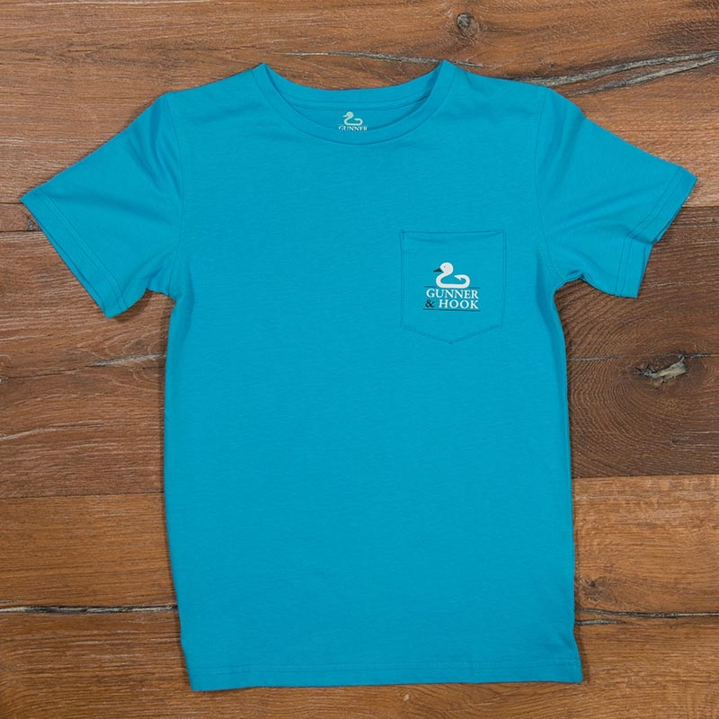 Gunner & Hook t-shirt cotton original ocean blue front