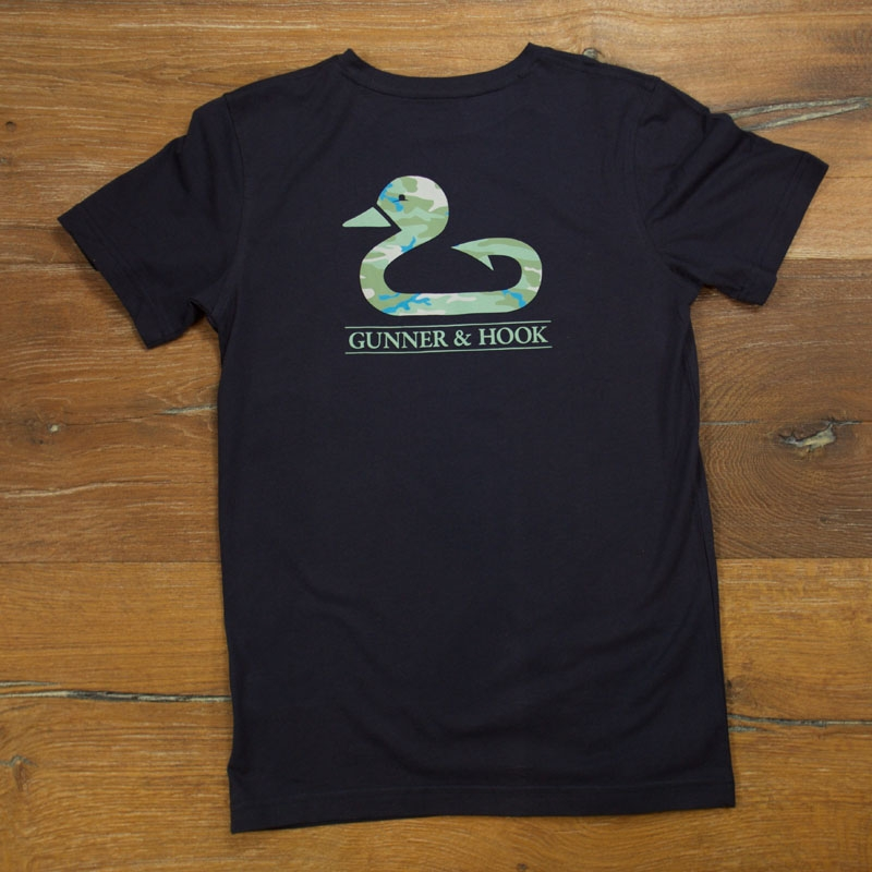 Gunner & Hook t-shirt cotton camo navy back