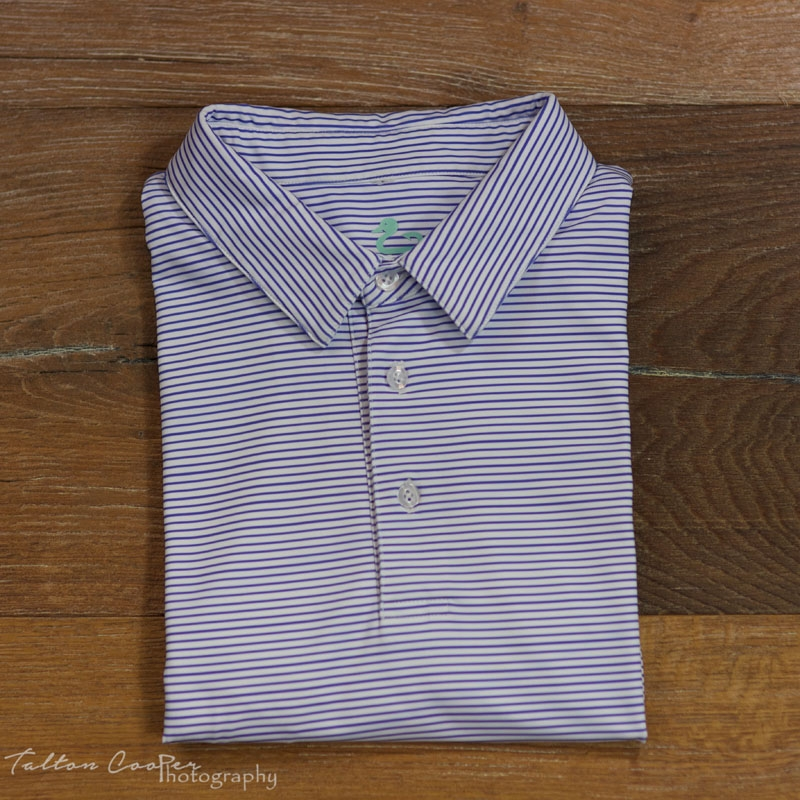 Gunner & Hook polo performance striped purple holded